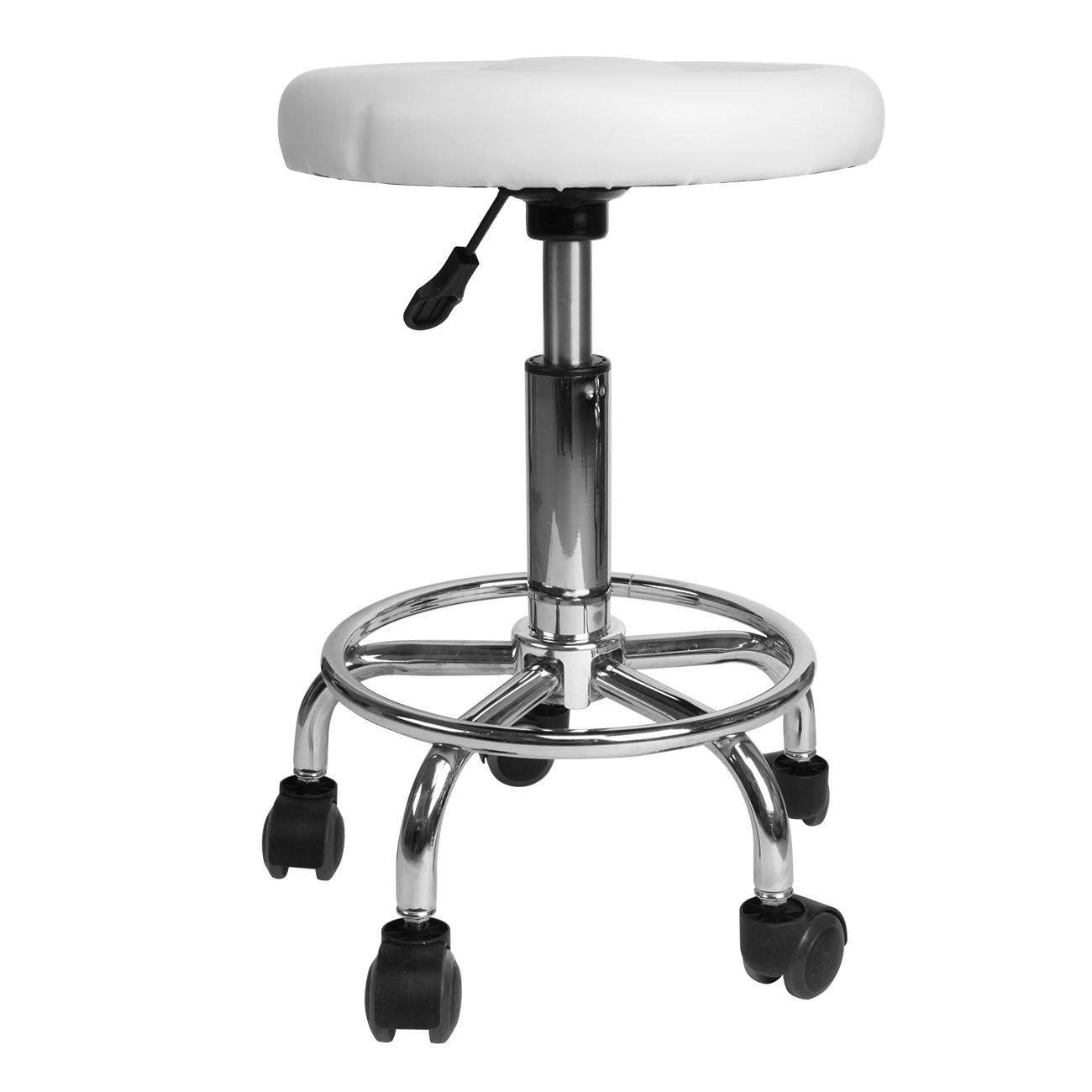 Paneltech 360° Height Adjustable Hydraulic Lift Stool Chair Swivel Seat Spa Tattoo Beauty Salon Faux PU Leather Work Stool (Black)