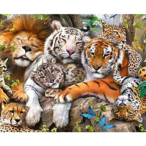 Yumeart Full Square Drill Diamond Painting Cross Stitch Tiger and Lion Rhinestones Embroidery Mosaic Animals 30x40cm(12x16