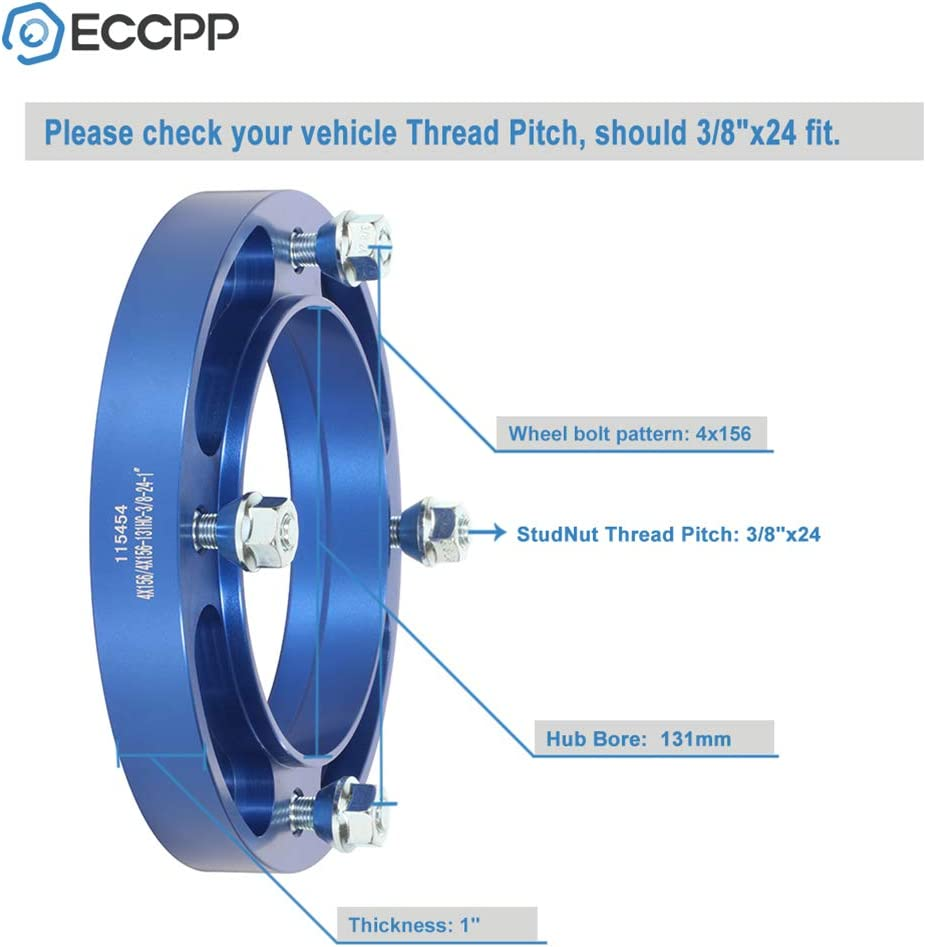 ECCPP 4 Lug Wheel Spacers 1 inch 25mm 4x156mm 131mm CB fit for Polaris Outlaw 50 90 450 500 525 Polaris Predator 400 425 500 Kawasak with 3//8x24 Studs
