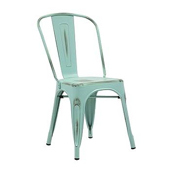 Vaukura Chaise Tolix Industriel Mtal Vintage Plusieurs Couleurs Bleu Turquoise
