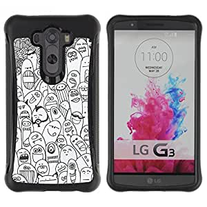 WAWU Funda Carcasa Bumper con Absorci??e Impactos y Anti-Ara??s Espalda Slim Rugged Armor -- happy cartoon animals creatures monsters -- LG G3