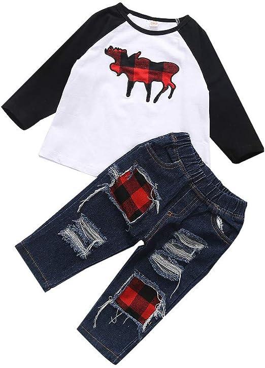 2PCS Newborn Baby Boy Girl Deer Print Hooded Shirts Tops+Pants Xmas Outfits Set