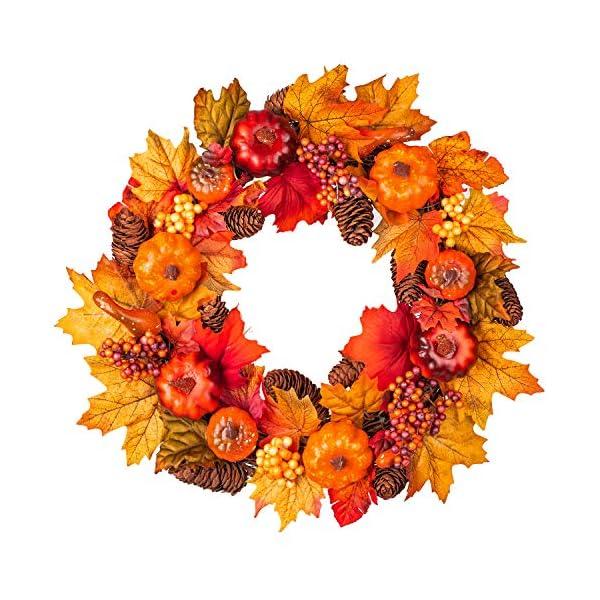 15Inch Fall Wreath Front Door Wreath with Maple Leaf,Pumpkin, Pine cone,Berries Garland Harvest Wreath for Halloween and Thanksgiving Home Indoor or Outdoor Arrangement Decoration
