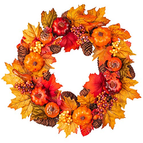 15Inch Fall Wreath Front Door Wreath with Maple Leaf,Pumpkin, Pine cone,Berries Garland Harvest Wreath for Halloween and Thanksgiving Home Indoor or Outdoor Arrangement Decoration (Pumpkins Fall With Arrangements)