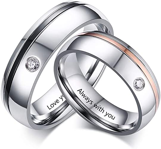 Handmade His and Hers Personalized Wedding Promise Rings Set Alternative Matching Rings for him and her
