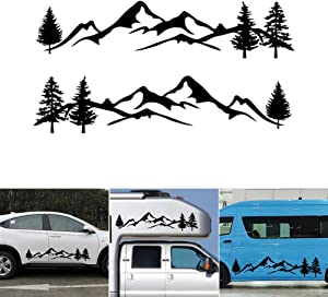 Luixxuer 2Pcs Car Side Body Stickers Mountain Decals Tree Forest Custom Vinyl Graphic for Camper RV Trailer