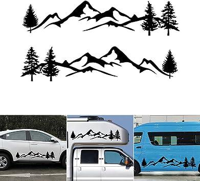 Nero KKmoon Adesivi per Auto PVC Personalizzato Albero Foresta Montagna Grafico 2 Pezzi Adesivi per Carrozzeria Laterale Auto Accessori per Decalcomanie Auto