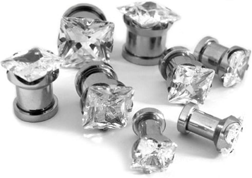 CZ Clear Plugs Plug Tunnel Gauge Screw Surgical Steel Body Jewelry Ear Gem Stone