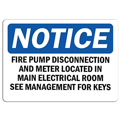 Amazon com : Notice - Fire Pump Disconnection and Meter