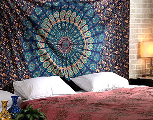 Tapestry Wall Hanging Mandala Tapestries Indian Cotton Bedspread Blue Theme Picnic Blanket Wall Art Hippie Tapestry By Rajrang