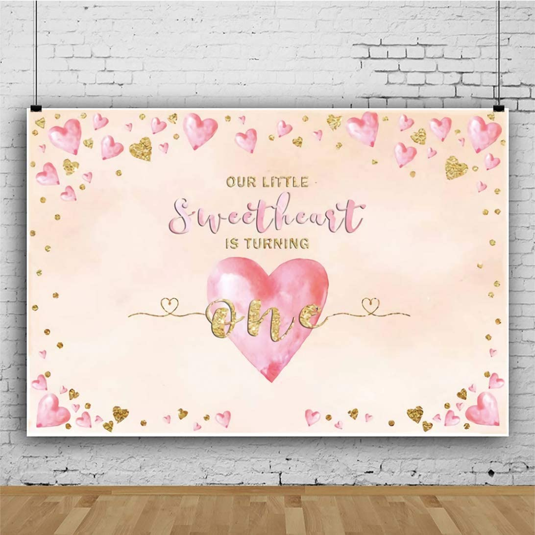 YEELE 10x8ft 1st Birthday Backdrop for Girls Pink and Gold Hearts Photography Background First Birthday Infant Baby Portrait Dessert Table Room Decoration Photobooth Props Digital Wallpaper