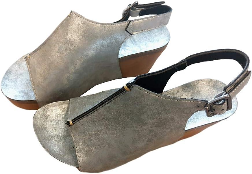 4a0524e203b Syktkmx Womens Platform Wedges Open Toe Comfort Slingback Cork Heel Ankle  Bootie Sandals