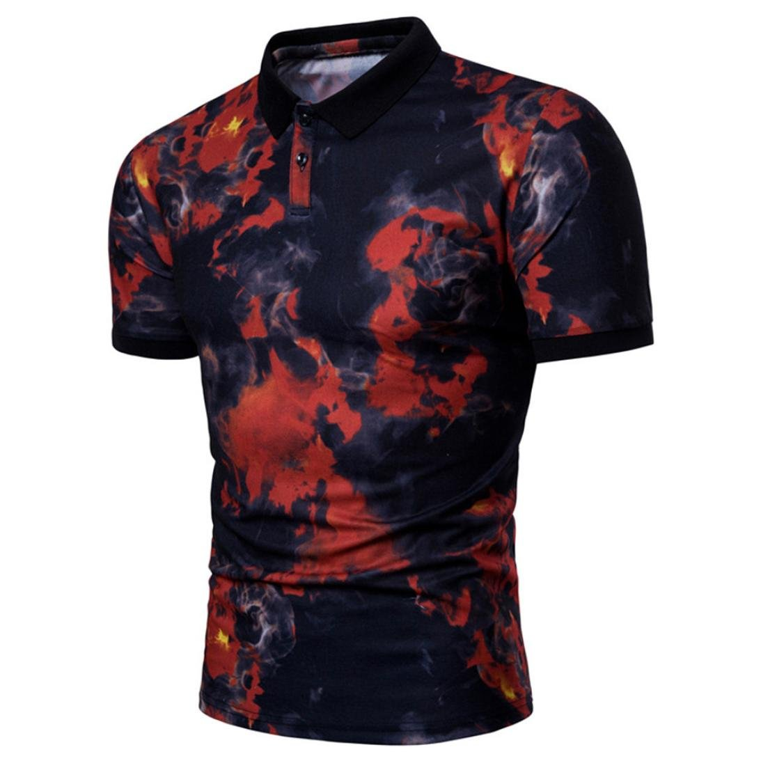 vermers Clearance Sale Fashion Men's Polo Shirts Summer Casual Lapel Print Pullover T-Shirt Tops(XL, Red)