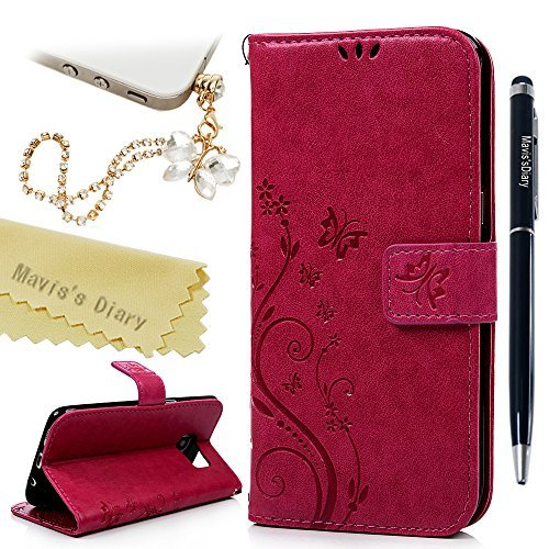 - Galaxy S7 Edge Wallet Case - Mavis's Diary Fashion Floral Butterfly Embossed PU Leather Magnetic Flip Cover Card Holders & Hand Strap for Samsung Galaxy S7 Edge with Bling Dust Plug & Pen - Hot Pink