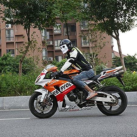Vhccirt Máscara de la motocicleta con gafas Polaroid Gafas de esquí Lente gris Máscara blanca del cráneo Parca Máscara Cos Para Casco de moto/Fiesta ...