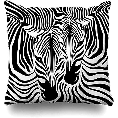 Staroatl Throw Pillow Cover South Africa Zebra Couple Black White Skin Clean Contour Exotic Fur Head Design Neck Square Cushion Sofa Pillowcase 18 x 18 Inches Home Decor Pillow Case (Africa South Covers Chair Patio)