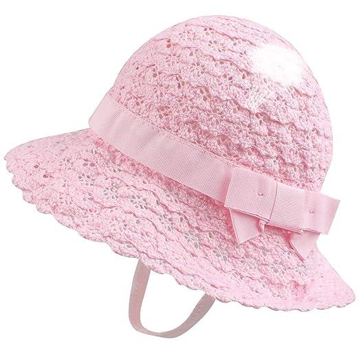 e9d009592 XIAOHAWANG Baby Girl Sun Hat Lace with Bow Toddler Bucket Sun Protection  Kids Summer Beach Cap Princess
