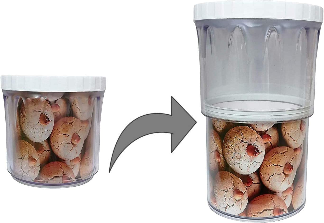 Aeon Design 2 Level Food Cereal Storage Container-Removing Air And Adjust Contents Feature-Unique Design Container-Multi Purpose Using-Glass Free And Strong Long Lasting Material-1 Piece (White)