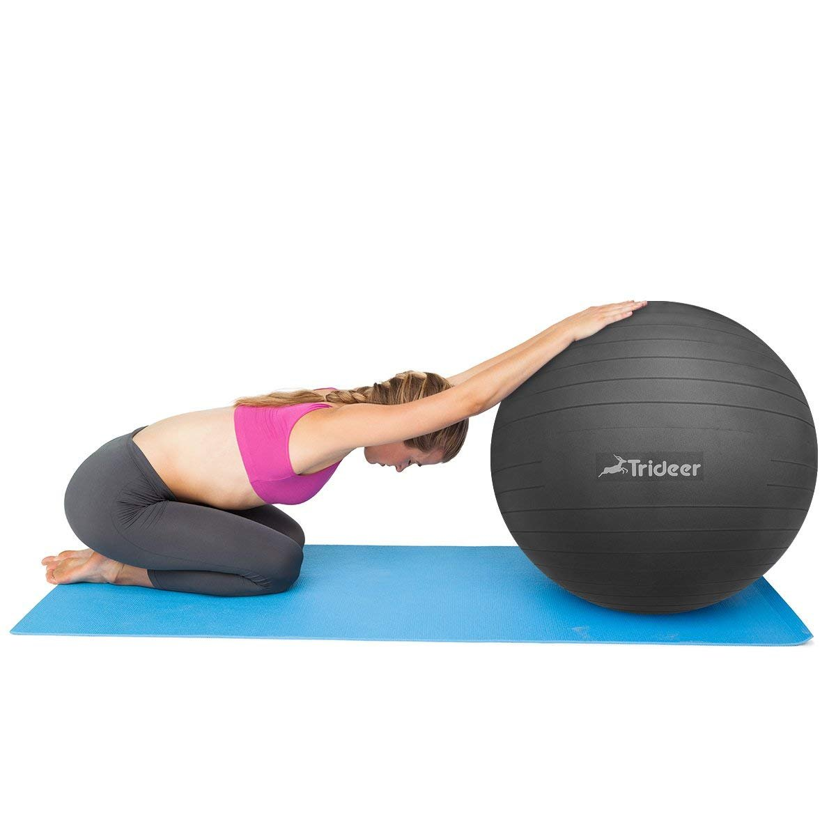 Trideer Exercise Ball (45-85cm) Extra Thick Yoga Ball Chair, Anti-Burst Heavy Duty Stability Ball Supports 2200lbs, Birthing Ball Quick Pump (Office & Home & Gym) (Black, 45cm) by Trideer (Image #9)