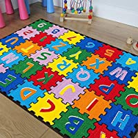 CR Kids/Baby Room/Daycare/Classroom/Playroom Area Rug. ABC Puzzle (A-Z and 1-9). Educational. Fun. Bright Colorful Vibrant Colors