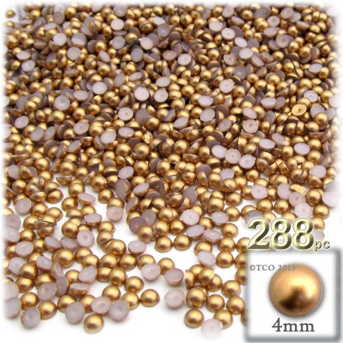 - The Crafts Outlet 288-Piece Pearl Finish Half Dome Round Beads, 4mm, Golden Caramel Brown