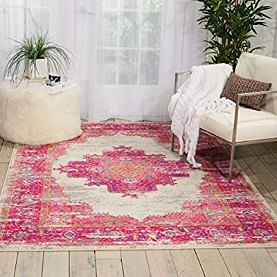 "Nourison Passion Traditional Bright Colorful Area Rug, 5'3"" x 7'3"", IVORY/FUSHIA - Spice up the décor in your home with Nourison. This rug is perfect for any room. Feel free to lay ontop of hard floors or carpet areas. This rug is stain resistant, fade resistant, no shedding, and easy to clean Styles: Contemporary Rugs, Bohemian - living-room-soft-furnishings, living-room, area-rugs - 61CmzdeDvVL. SS400  -"