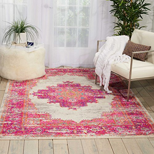 Rug Collection Flor (Nourison Passion Distressed Vintage Ivory/Fuchsia Area Rug 5'3