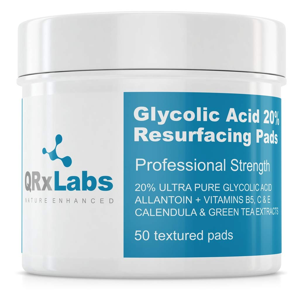 Glycolic Acid 20% Resurfacing Pads with Vitamins B5, C & E, Green Tea, Calendula, Allantoin - Exfoliates Surface Skin and Reduces Fine Lines and Wrinkles by QRxLabs