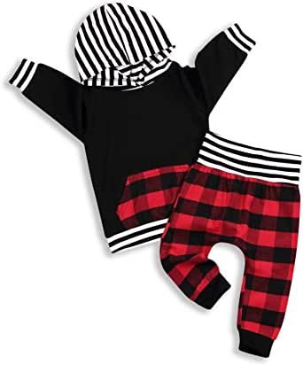 Viworld Christmas Baby Boys Girls Clothes Newborn Hoodie Tops Sweatsuit Long Sleeve Plaid Pants Outfit Set