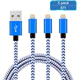 iPhone Charger, AILANSI iPhone Charging Cable,Apple 8 Pin USB Lightning to USB Cable Cord for iPhone 7 7 Plus 6 6S 6 Plus 5S SE iPod iPad Mini Air Pro and More (3PCS New Blue&White)