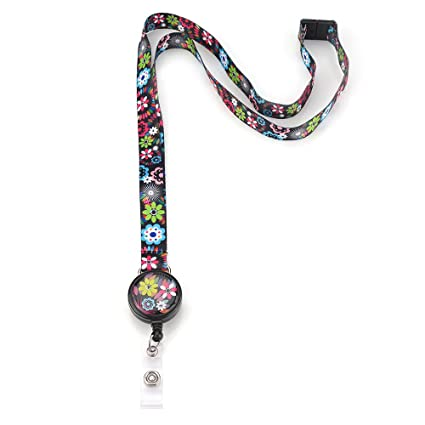 adf43d1665ff Amazon.com : Grekywin Blooming Flowers Lanyard Keychain for Women ...