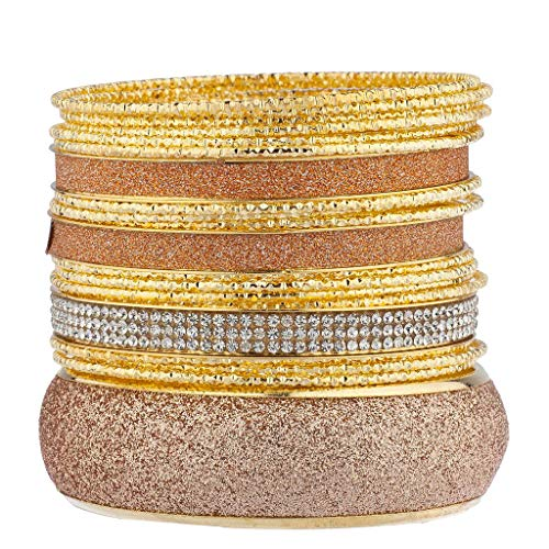 Lux Accessories Goldtone Rose Gold Sticker Glitter Nugget Multi Bangle Pack - Hammered Necklace Nugget