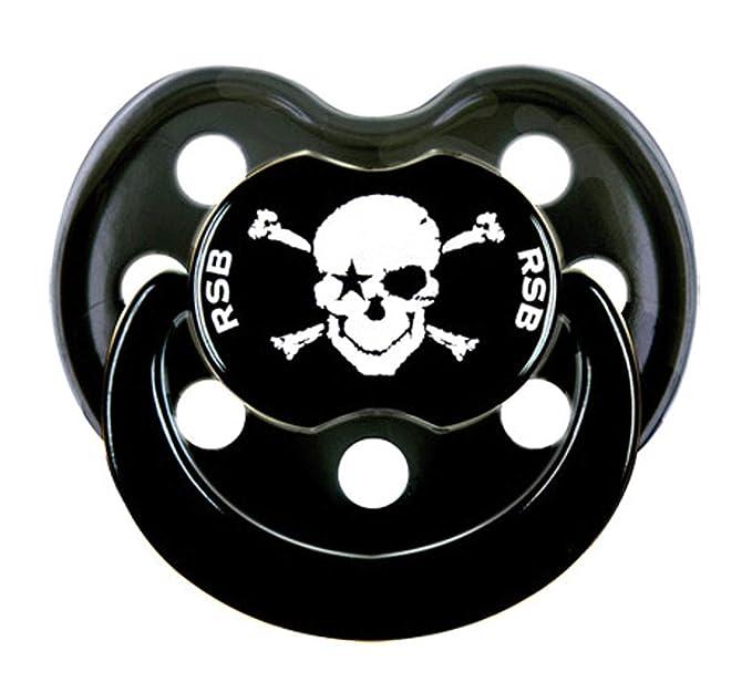 Rock Star Baby Chupete Calavera Pirata + cadena para chupete pirata calavera Talla 2