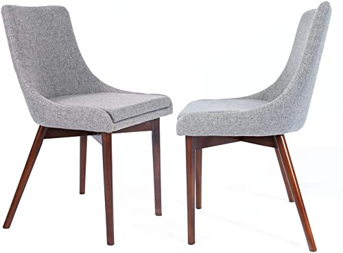 CangLong Upholstered Fabric Brown Chairs and Solid Wood Legs