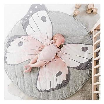 Motif De Papillon Tapis Rond Enfant 100% Cotton Doux Carpette Tapis De Jeu  Bébé Gris 90 CM Coussin Tapis A Ramper Décoration Pour Tipi Tente Ciel De  ...