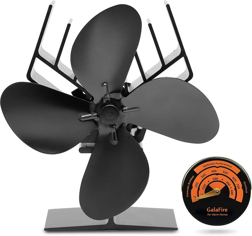 GALAFIRE [ 2 años ] Eco Estufa de leña Ventilador Alimentado por calor 4 Cuchillas Quemador de Leña Ventilador Impulsado por el Calor + Indicador de Temperatura del Termómetro de la Estufa