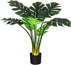 Fopamtri Artificial Monstera Deliciosa Plant 31 Inch Fake Tropical Palm Tree with 11 Trunks Faux Tree for Indoor Outdoor Modern Decoration Housewarming Gift