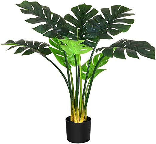 Plastic Green NEW 2017 Classic Fake Palm Tree Decor Home Leaves