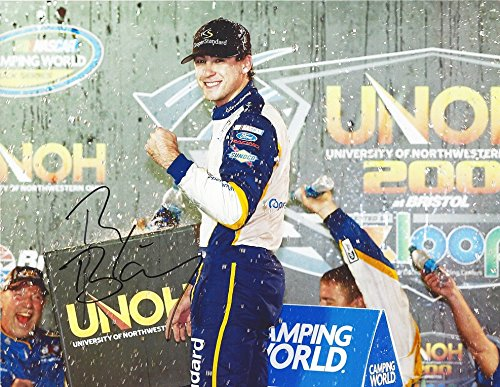Autographed 2015 Ryan Blaney  29 Cooper Standard Racing Bristol Winner  University Of Northwestern 200  Camping World Truck Series Victory Lane Celebration 9X11 Inch Signed Picture Nascar Glossy Photo With Coa