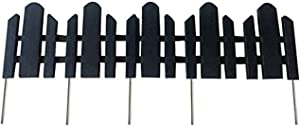 "Abba Patio Garden Fence Recycled Plastic Landscape Edging 6 Sections 23"" x 6"" Lawn Edging Flexible No-Dig Picket Fence Style Decorative Border, Black"