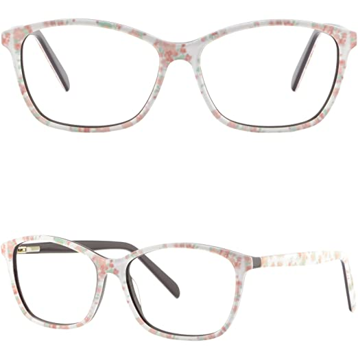 e82af7b6b9b Image Unavailable. Image not available for. Color  Square Womens White  Floral Flower Light Prescription Glasses Pink Spring Hinges