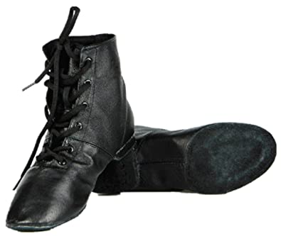 4f3f2cb09153c Cheapdancing Women's Leather Practice Dancing Shoes Jazz Boots Soft-soled  High Boots, Black (