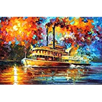 River Boat DIY 5D Full Drill Diamond Painting Kit, Canvas Wall Décor | Canvas Size 45 x 30 cm | 17.7 x 11.8 inches |
