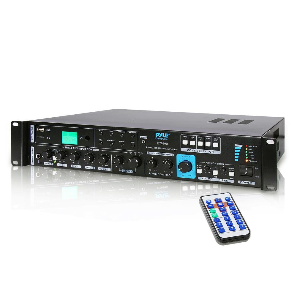 70V System Audio Power Amplifier - 700W Rack Mount Portable Home Stereo Sound Receiver Mixer System w/ 70V 100V Speaker Output, RCA AUX IN, USB, Mic Talkover - For Multi Speakers - Pyle PT930U by Pyle