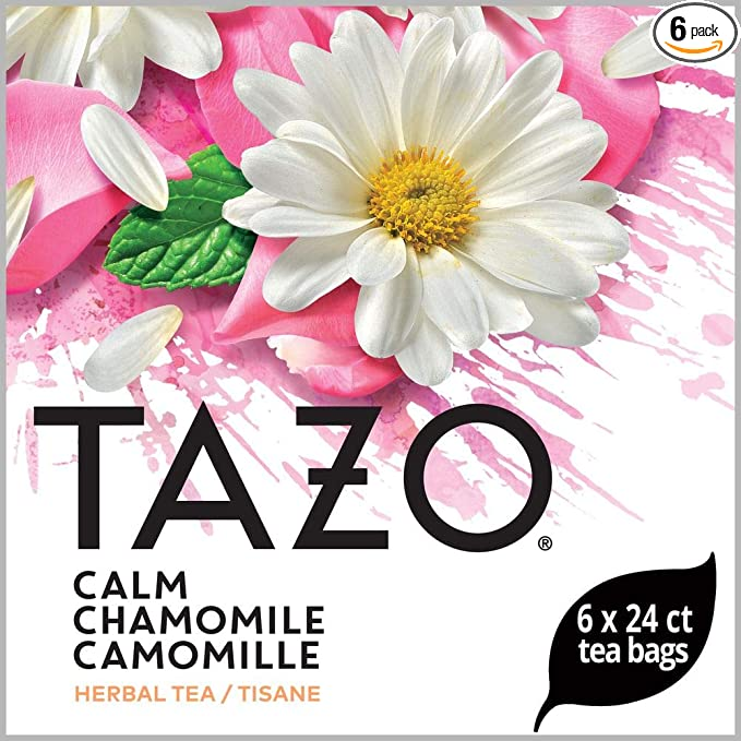 TAZO Calm Chamomile Enveloped Hot Tea Bags Herbal, Caffeine Free, Non GMO, 24 count, Pack of 6