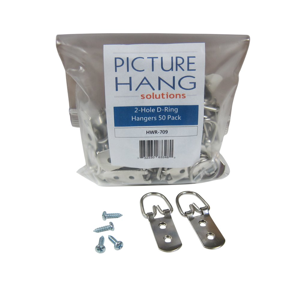 Heavy Duty D-Ring Picture Hangers - 2 Hole with Screws - 50 Pack - Picture Hang Solutions