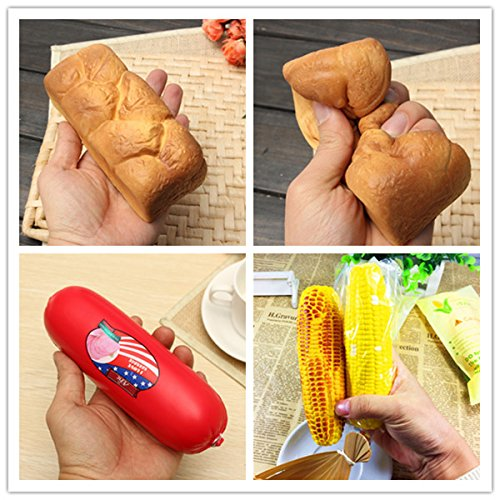 Eric Squishy 3PCS Dark Orange Bread Toasted Corn Sausage Toy Slow Rising Original Packaging (Roasted Sausage)