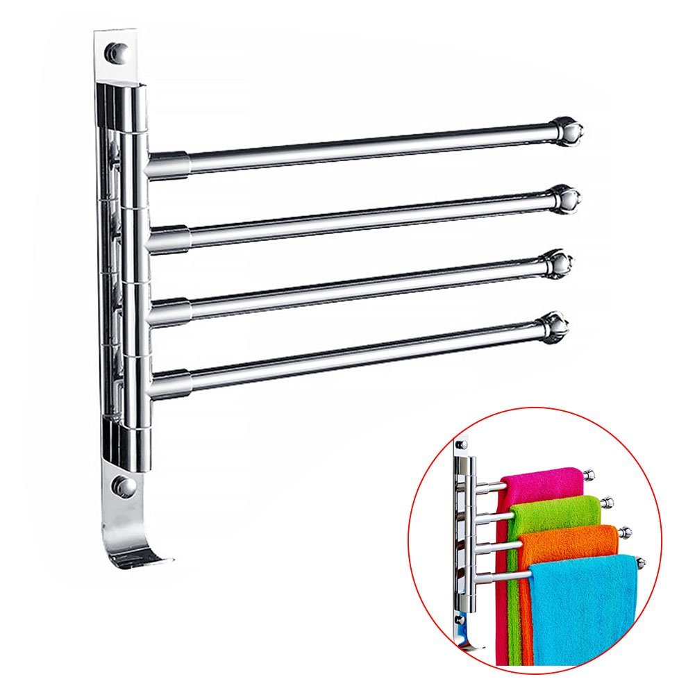 Stainless Steel Towel Holder Swing Towel Holder Wall-Mounted Bathroom Towel Rack Holder With Extra Long 4 Bars Swivel Bars (31x29.5 cm)