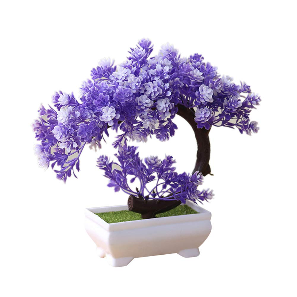 UanBO9wykh Simulation Fake Potted Bonsai Artificial Tree Plant Home Office Desk Decor Purple