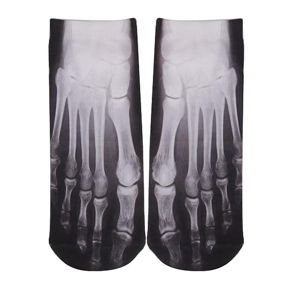 Desconocido Moda Mujeres Frescas Hombres Calcetines Bajos Corte Tobillo 3d Algodon Huesos Calcetin Casuales: Amazon.es: Ropa y accesorios